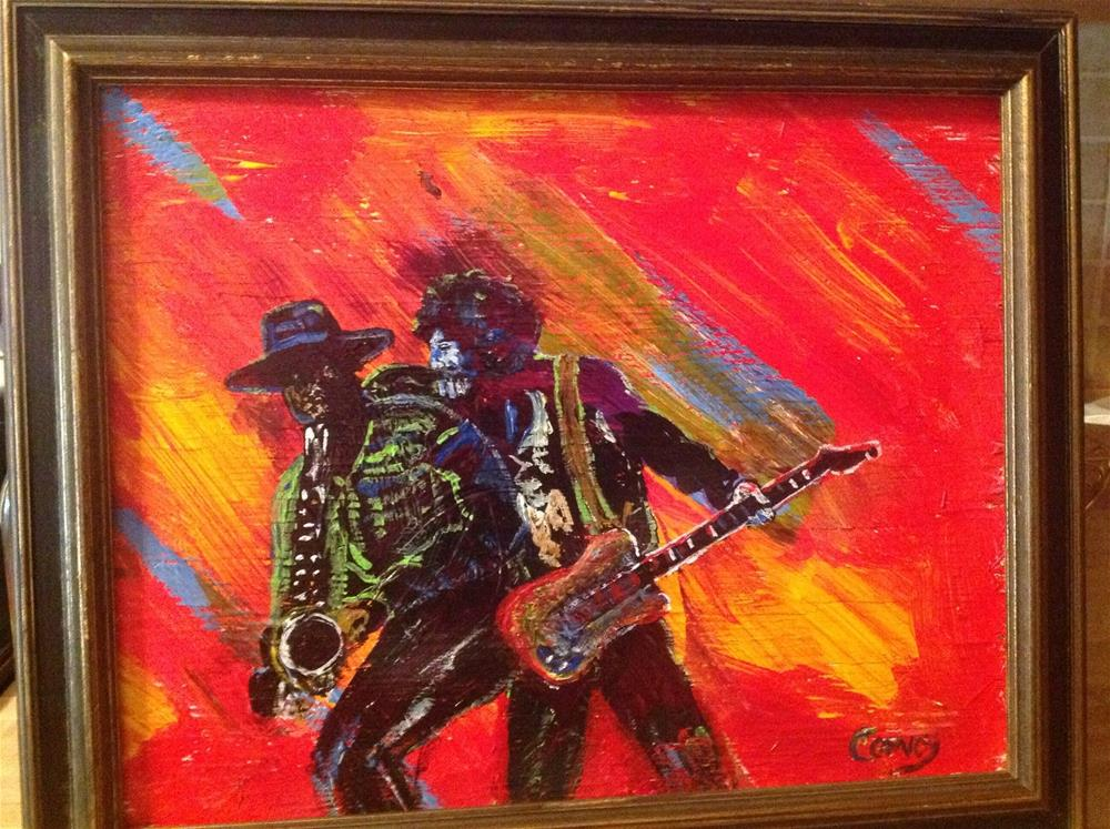 """""""Scooter and the Big Man """" original fine art by mark convoy"""