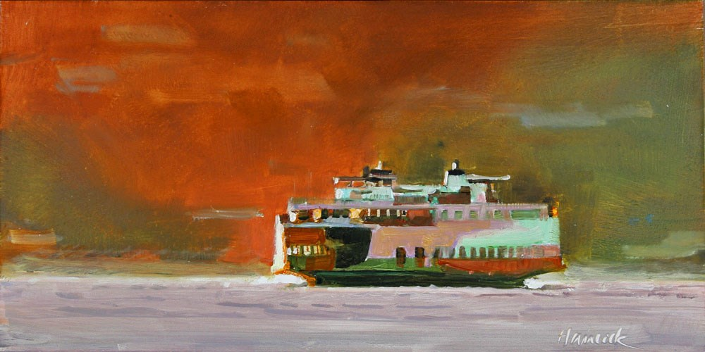 """""""Ferry and Red Hill"""" original fine art by Gretchen Hancock"""