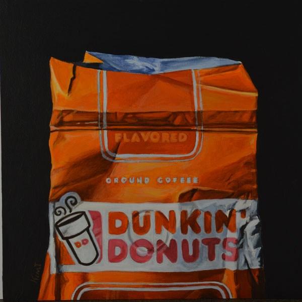 """Dunkin Donuts Coffee Bag 1"" original fine art by Kim Testone"