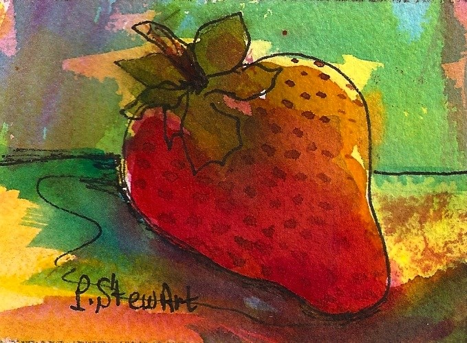 """""""ACEO  Strawberry watercolor and pen, loose style Naive Art"""" original fine art by Penny Lee StewArt"""