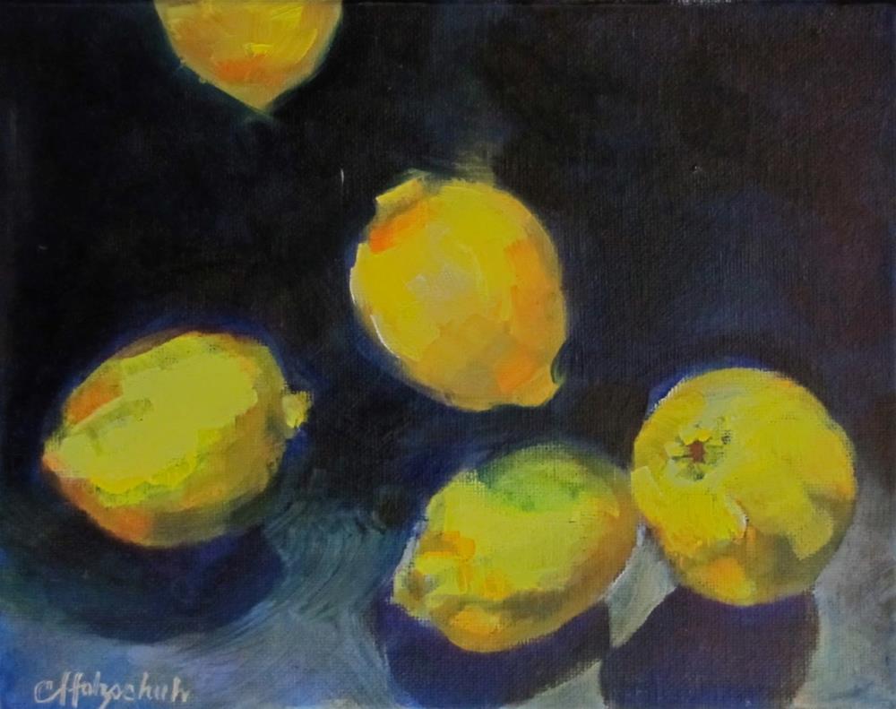 """Falling Lemons"" original fine art by Christine Holzschuh"