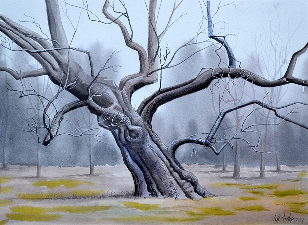 """Leaning Tree"" original fine art by Jeff Atnip"