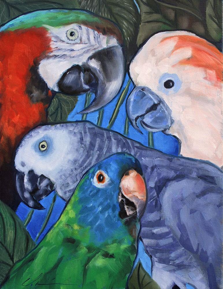 """""""Parrots Commission"""" original fine art by Clair Hartmann"""