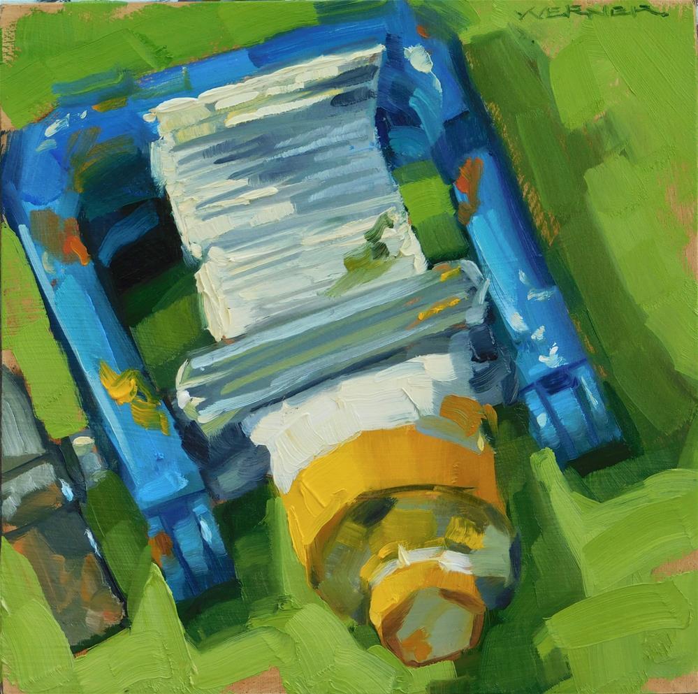 """""""Cad In The Wringer"""" original fine art by Karen Werner"""