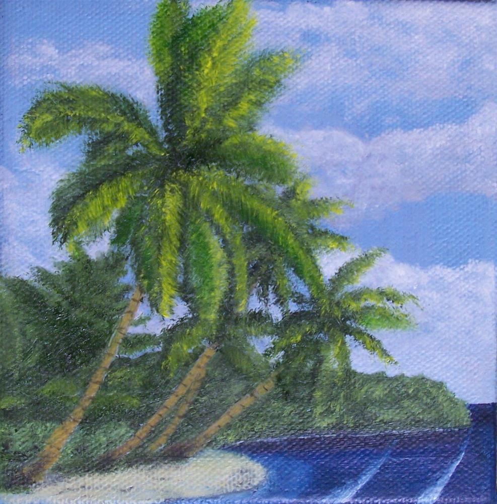 """Tropical Beach Scene"" original fine art by John Marcum"