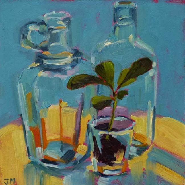 """Bottles and Euphorbia Seedling"" original fine art by Jessica Miller"