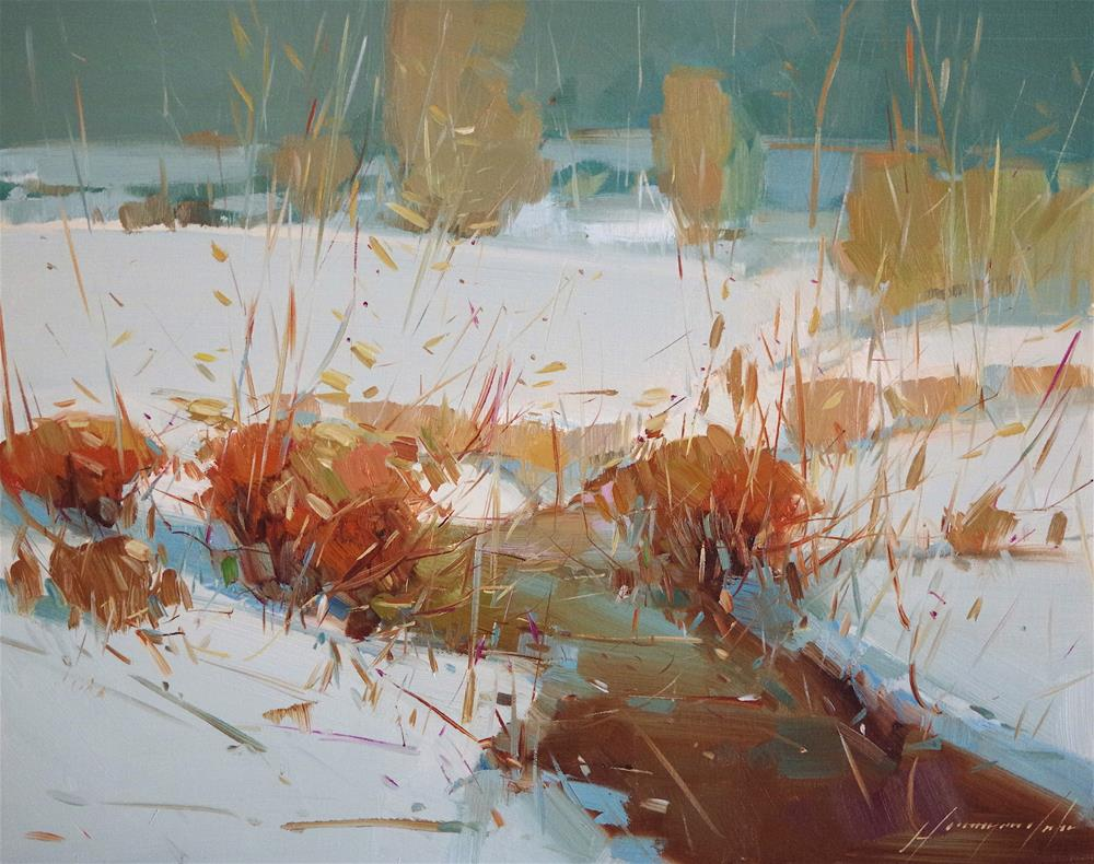 """""""Cobalt Winter, Landscape oil painting, one of a kind"""" original fine art by V Y"""