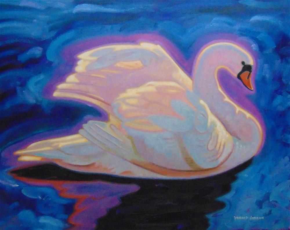 """Blue Swan"" original fine art by Donald Curran"