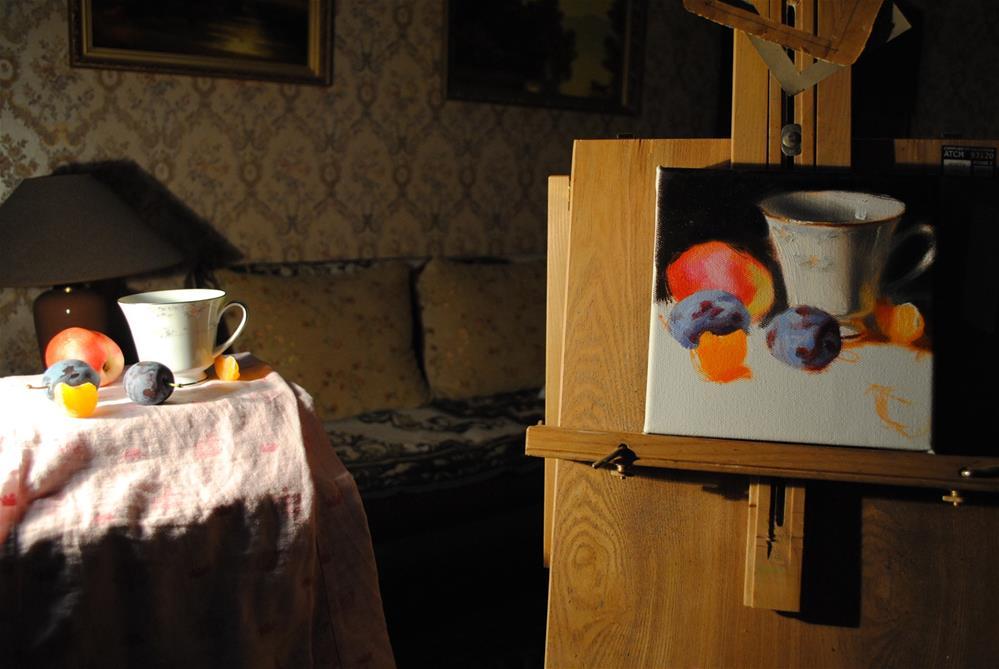 """""""Unfinished still life..."""" original fine art by Elena Katsyura"""