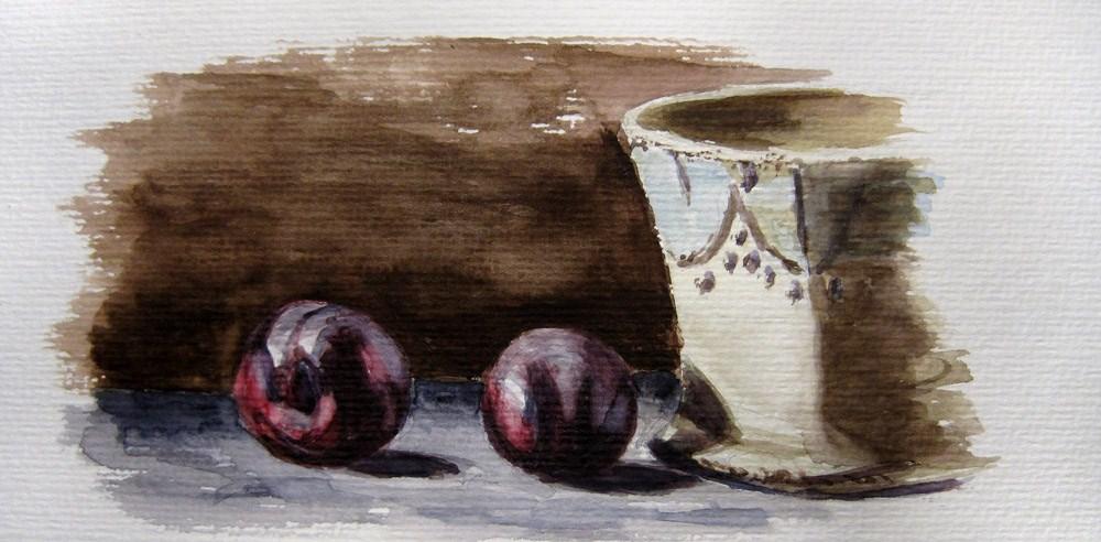 """""""Plums and Mug"""" original fine art by Ulrike Miesen-Schuermann"""
