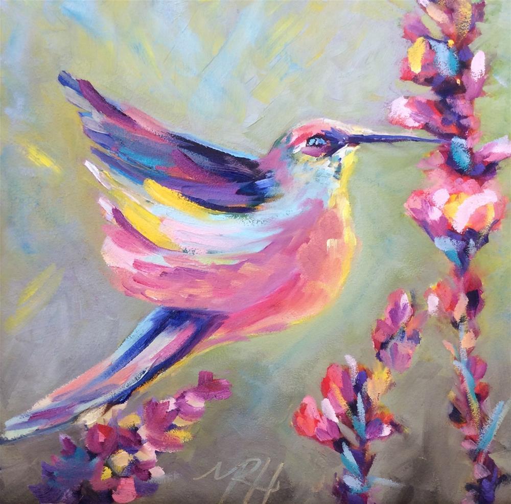 """Hummingbird spring"" original fine art by Molly Rohrscheib Hathaway"