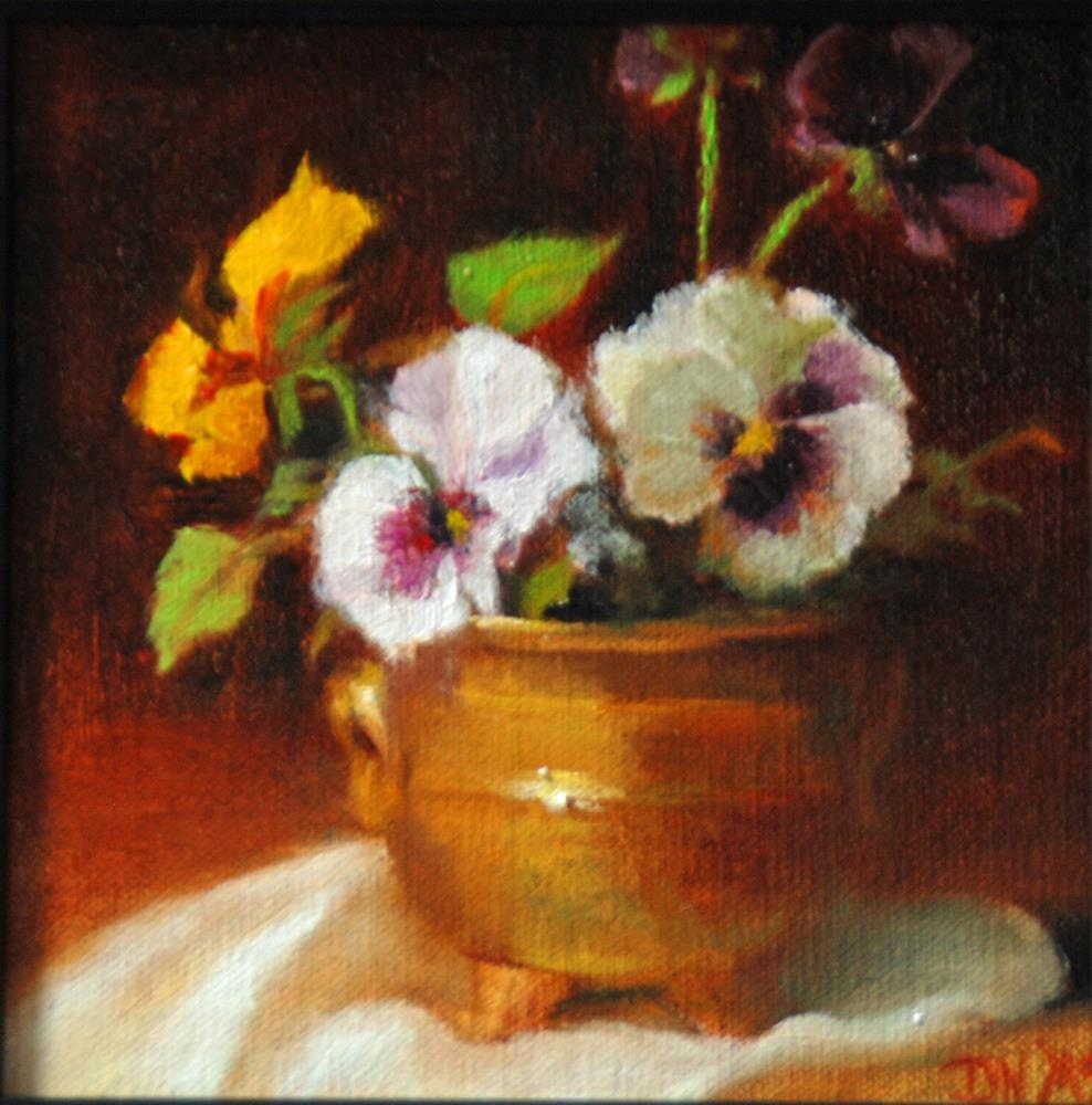 """""""Pansies and Brass"""" original fine art by Dorothy McLennan"""