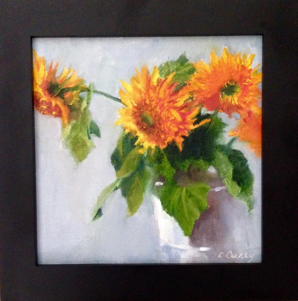 """Teddy Bear Sunflowers"" original fine art by Linda Carney"