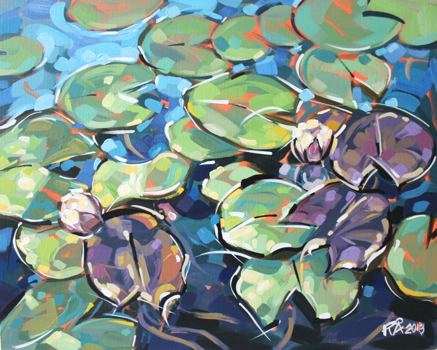 """Waterlily Abstraction 5"" original fine art by Roger Akesson"