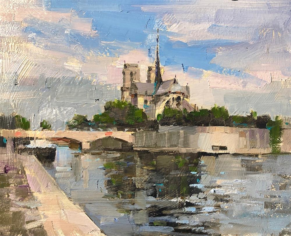 """Notre-Dame de Paris"" original fine art by Qiang Huang"