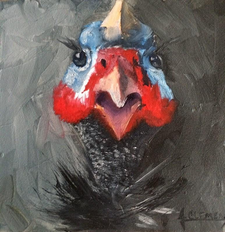 """Guinea Fowl 1"" original fine art by Jolynn Clemens"