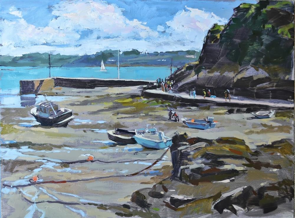 """Outgoing tide at Port Clos"" original fine art by Haidee-Jo Summers ROI"