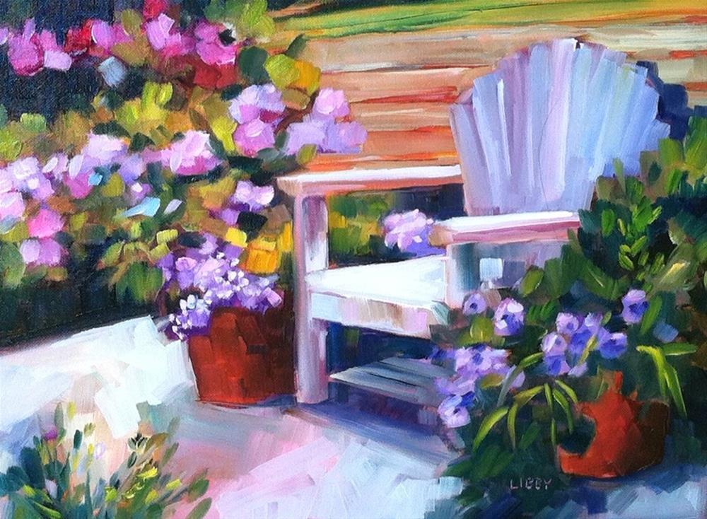 """""""Moonlight Garden"""" original fine art by Libby Anderson"""