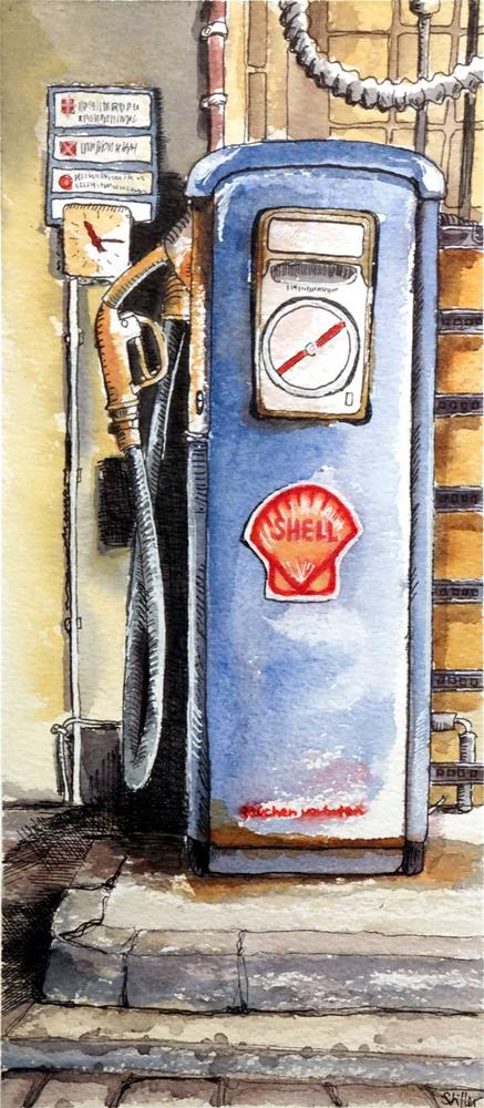 """3079 Petrol Pump"" original fine art by Dietmar Stiller"