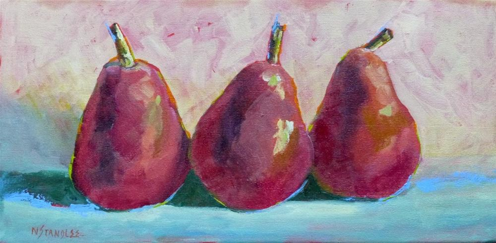 """Three Red Pears 14054 sold"" original fine art by Nancy Standlee"