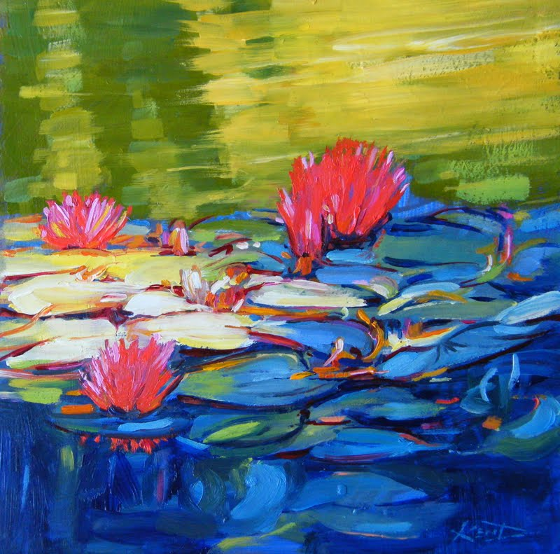 """Monet's Lilies Up Close"" original fine art by Ken Devine"