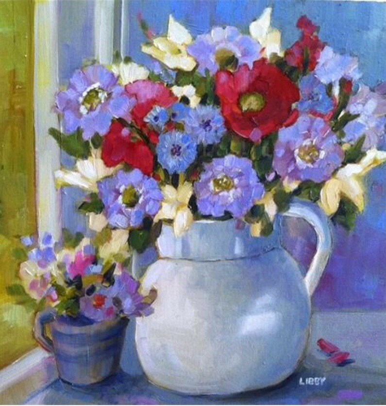 """""""White Pitcher"""" original fine art by Libby Anderson"""