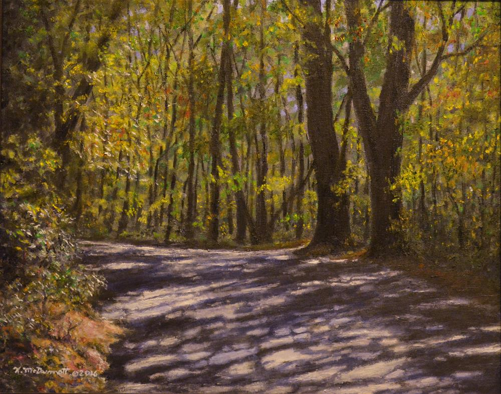 """CABIN ROAD (C) 2016 by K. McDermott"" original fine art by Kathleen McDermott"