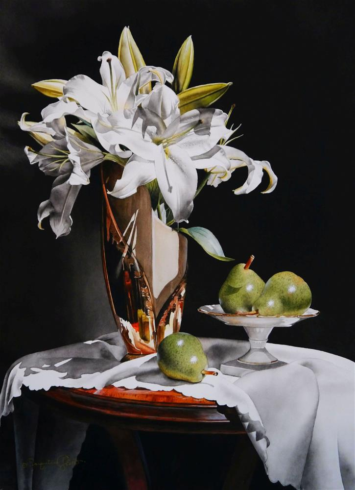"""""""Still Life with White Lilies & Pears"""" original fine art by Jacqueline Gnott, TWSA, WHS"""