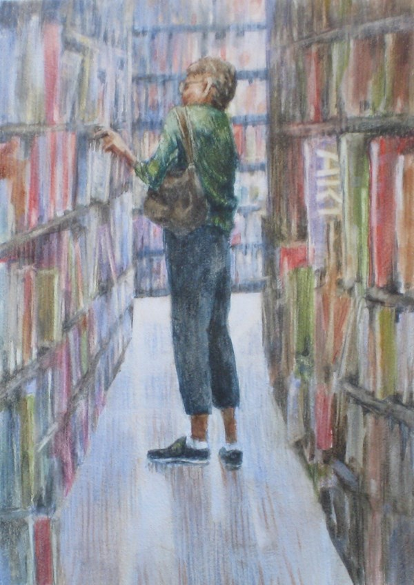 """""""The Library Patron"""" original fine art by Ginger Pena"""