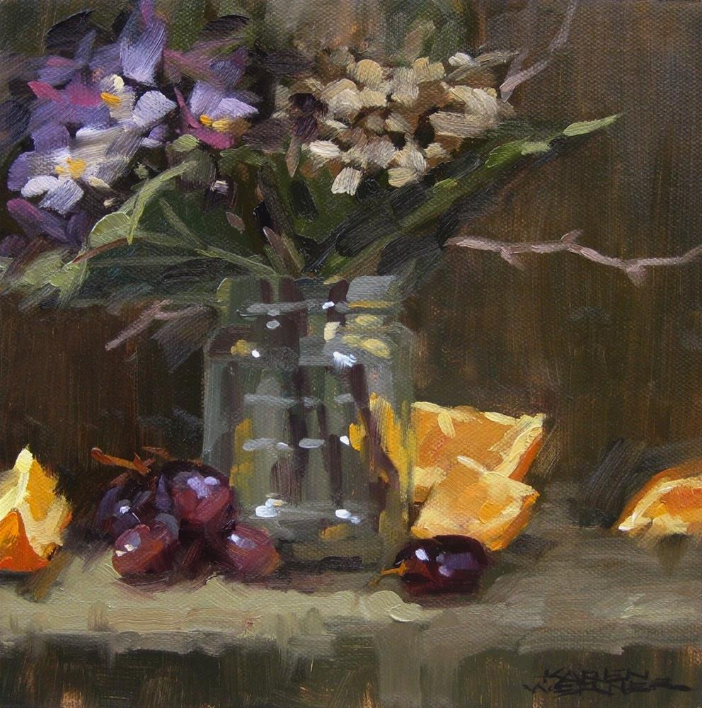 """Flower Jar & Fruit"" original fine art by Karen Werner"
