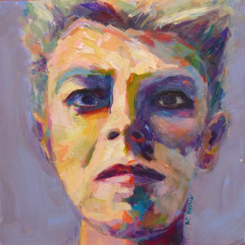 """David Bowie 8 x 8-sold"" original fine art by Beth Carrington Brown"