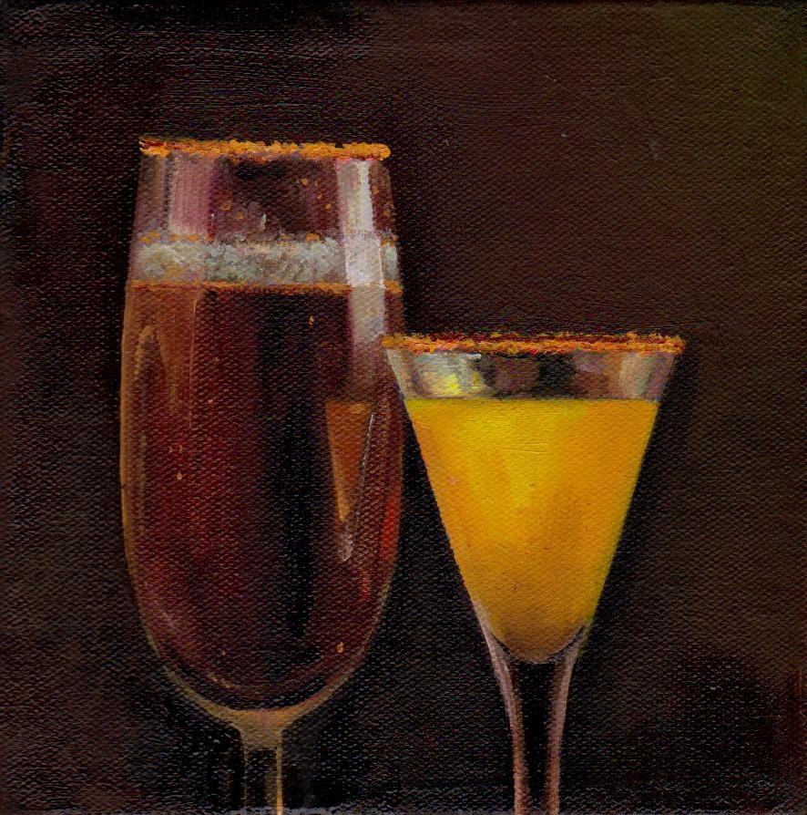 """a drinks"" original fine art by Mark DeBak"