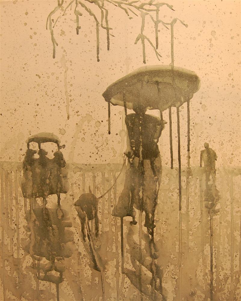 """rain city (people in the rain 3)"" original fine art by michael vigneux"