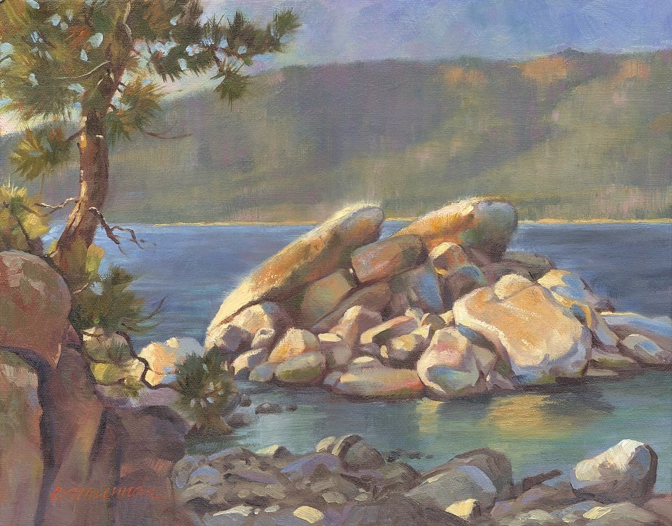 """Sand Harbor Sunset"" original fine art by Connie McLennan"