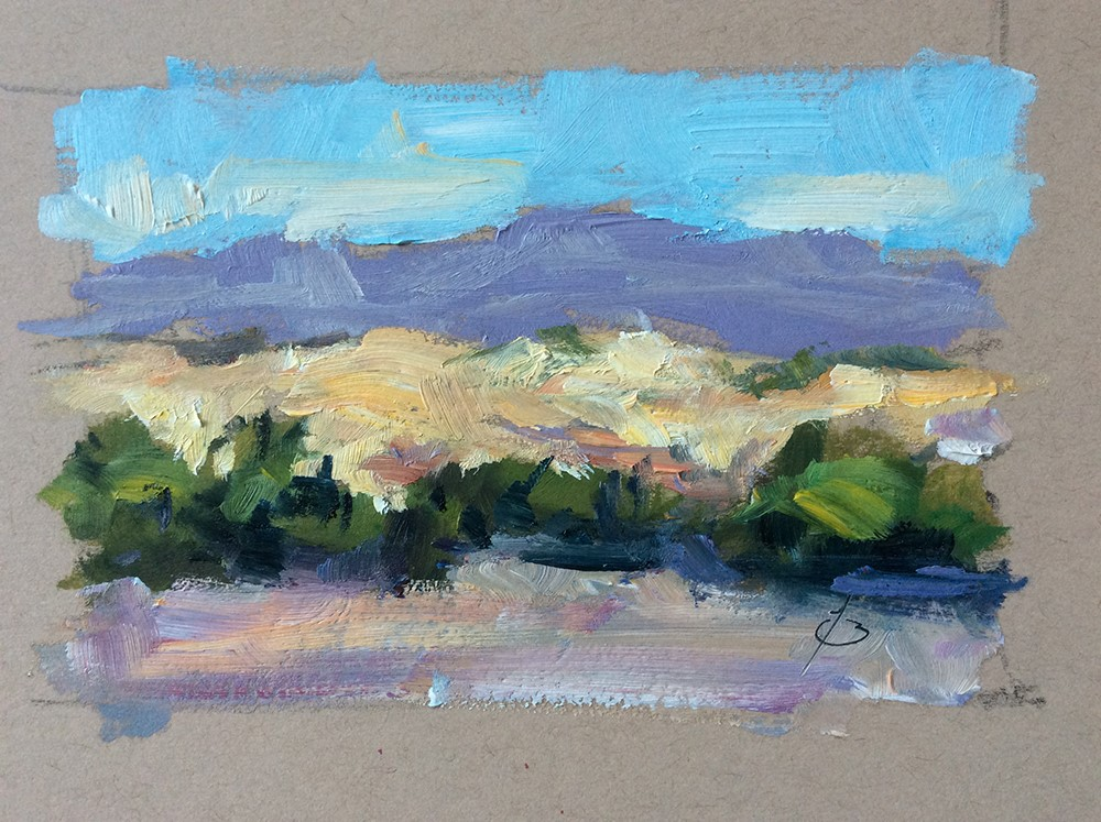 """QUICK STUDY OF FOOTHILLS AND MOUNTAINS"" original fine art by Tom Brown"