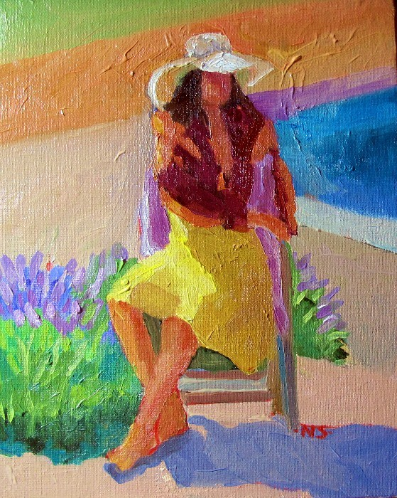 """Girl with Lavender 12045"" original fine art by Nancy Standlee"