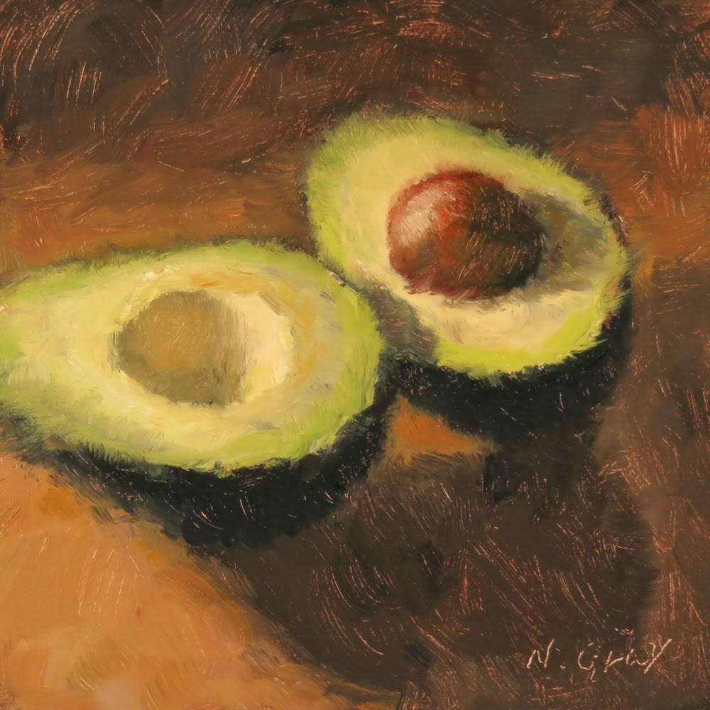 """""""Avocado in Half"""" original fine art by Naomi Gray"""