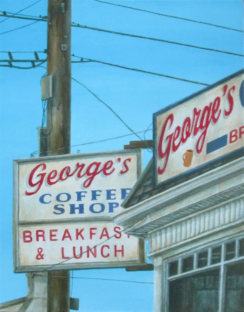 """George's Coffee Shop"" original fine art by Debbie Shirley"