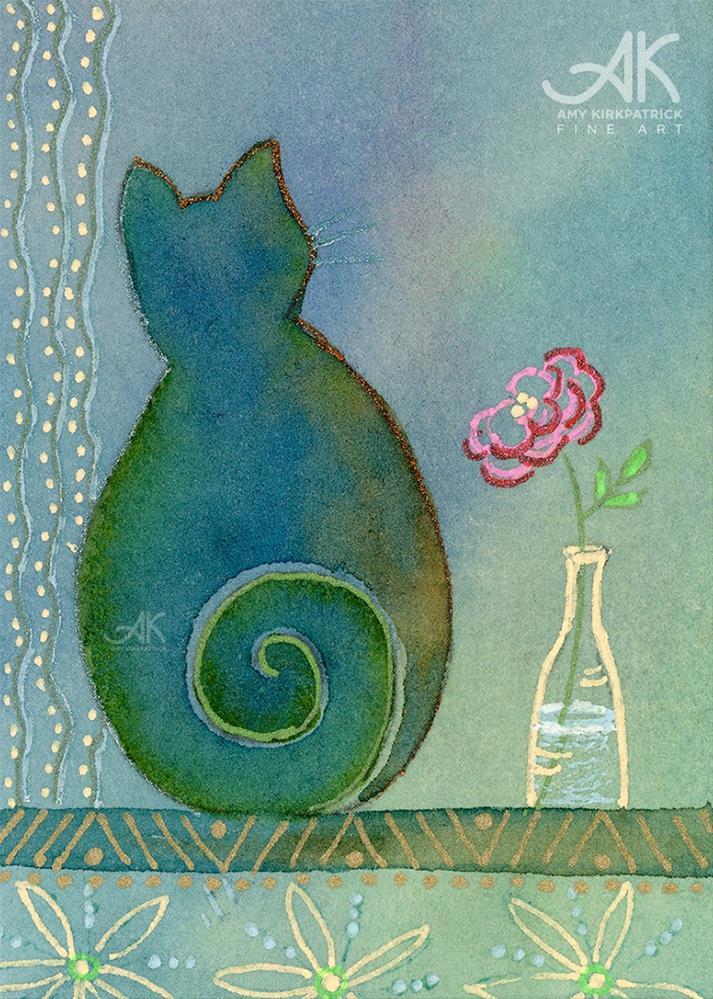 """BLUE CAT #0177 "" original fine art by Amy Kirkpatrick"
