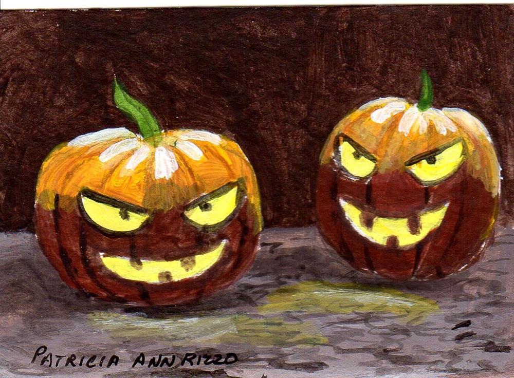 """Halloween Madness:  Evil Pumpkins"" original fine art by Patricia Ann Rizzo"