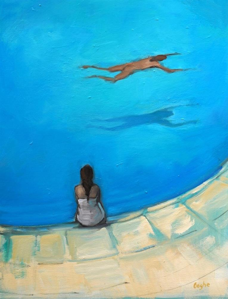 """""""Waiting by the Pool"""" original fine art by Angela Ooghe"""