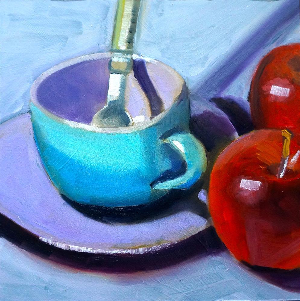 """Tea Cup and Apples"" original fine art by Dipali Rabadiya"
