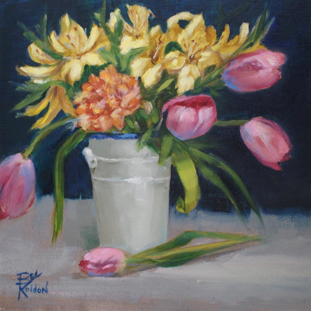 """""""Tulips in a White Can"""" original fine art by Beverly Koldon"""