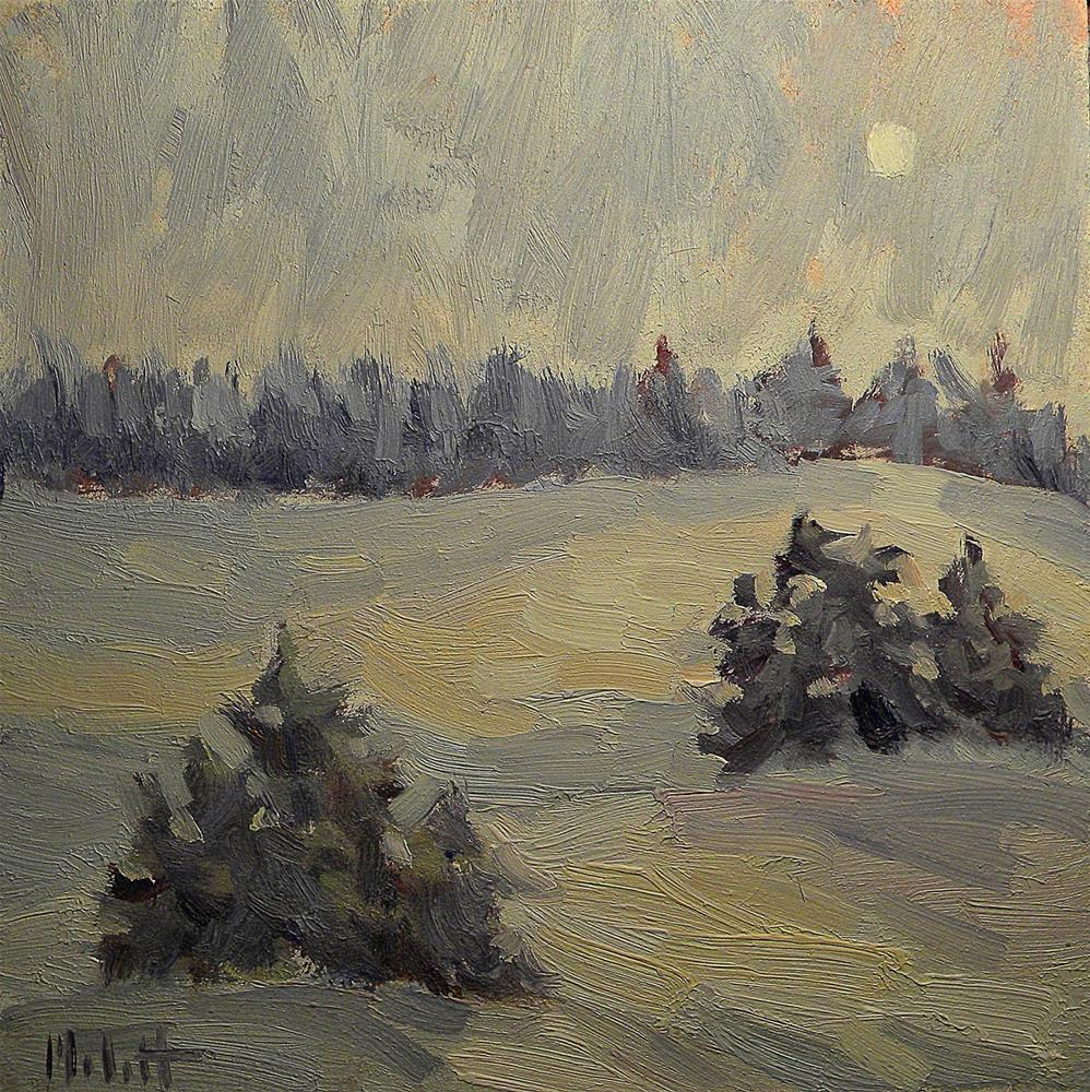 """Winter Whites Snowy Landscape Evergreen Pines Oil Painting"" original fine art by Heidi Malott"