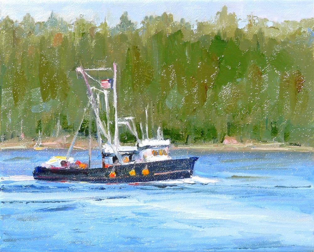 """Island Boat,seascape,oil on canvas,8x10,priceNFS"" original fine art by Joy Olney"