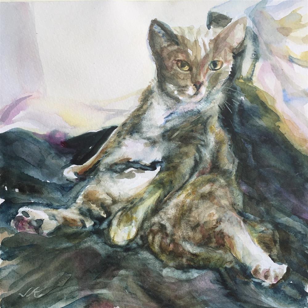 """Murray, Cat Reclining"" original fine art by Jean Krueger"