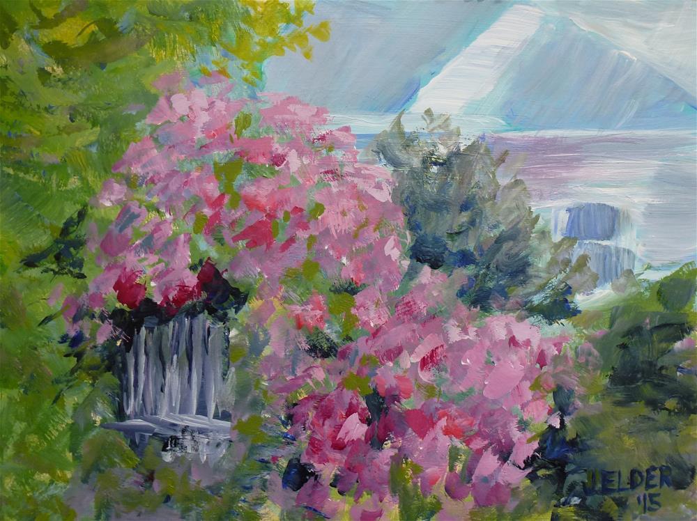 """""""Rhodies"""" original fine art by Judith Elder"""