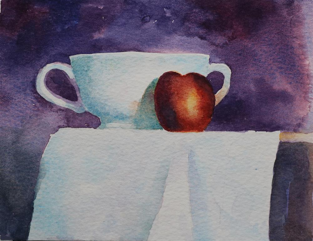 """Bowl and Nectarine"" original fine art by Christine Derrick"