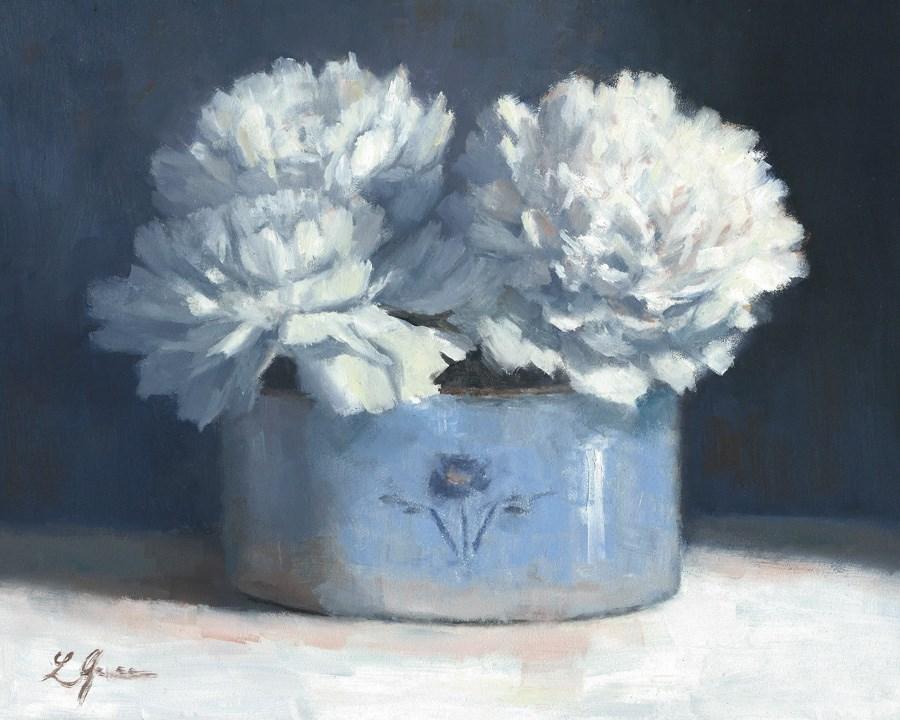 """Crisp White Peonies"" original fine art by Linda Jacobus"