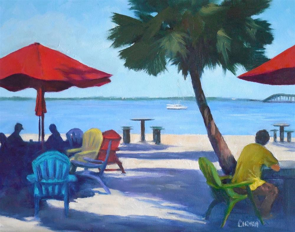 """View from SquidLips, 8x10 Oil on Canvas Panel, Florida Scene"" original fine art by Carmen Beecher"